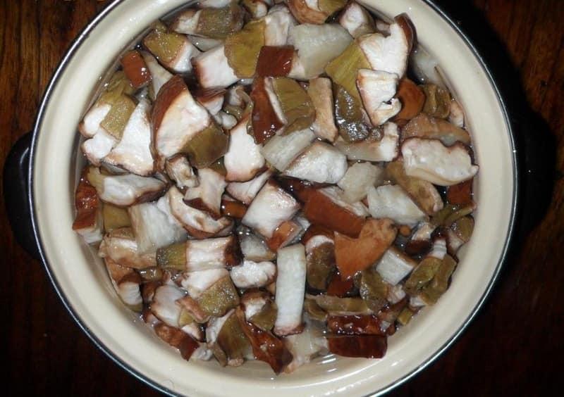 очищенные грибы перед хранением в холодильнике