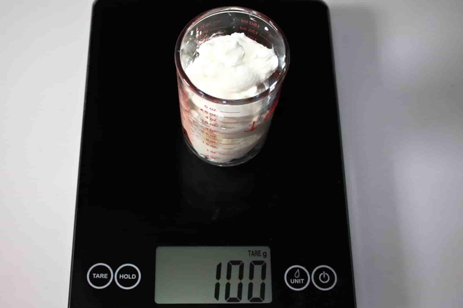 100 грамм йогурта (Вес продуктов)