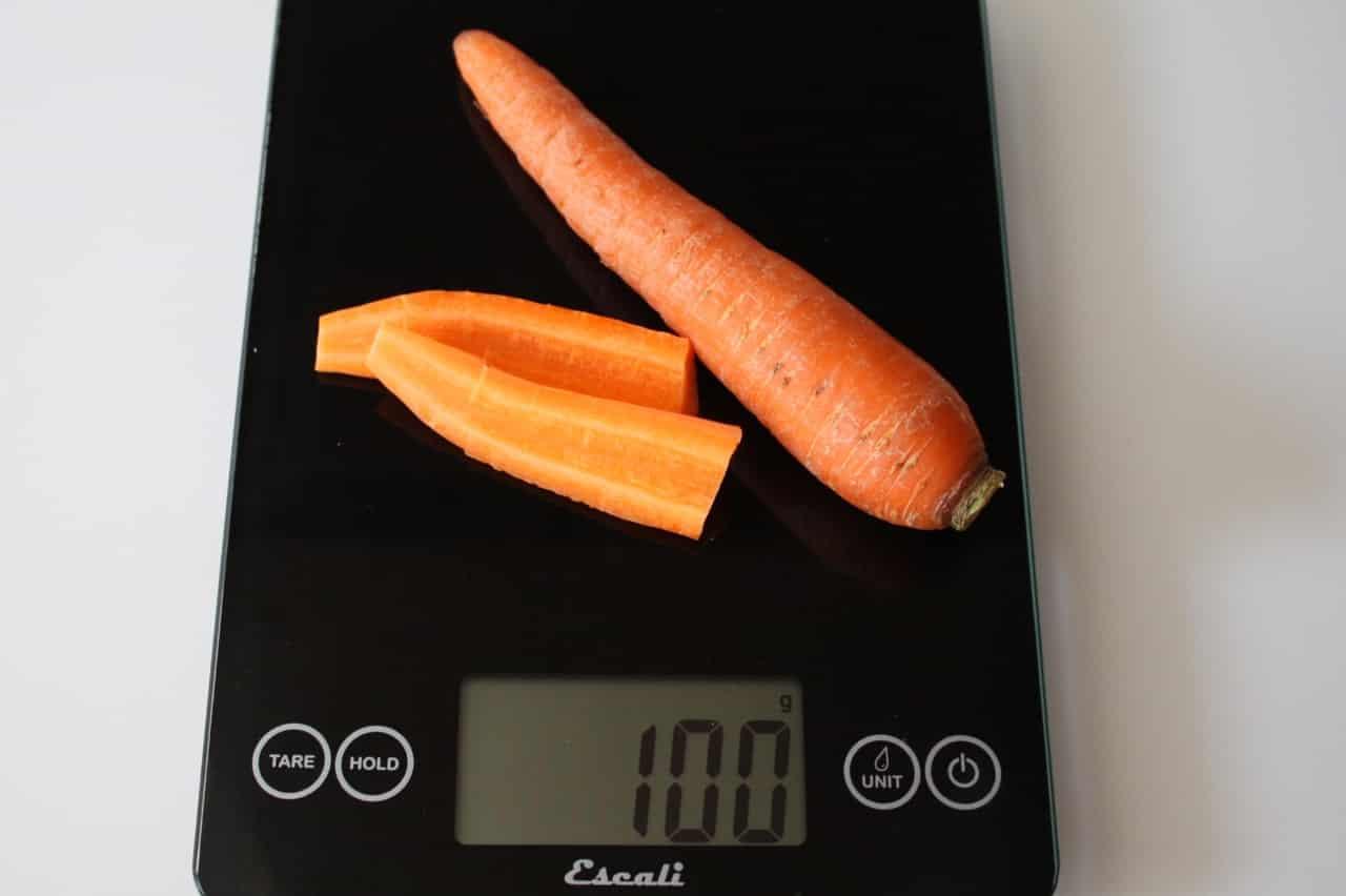 100 грамм моркови (Вес продуктов)