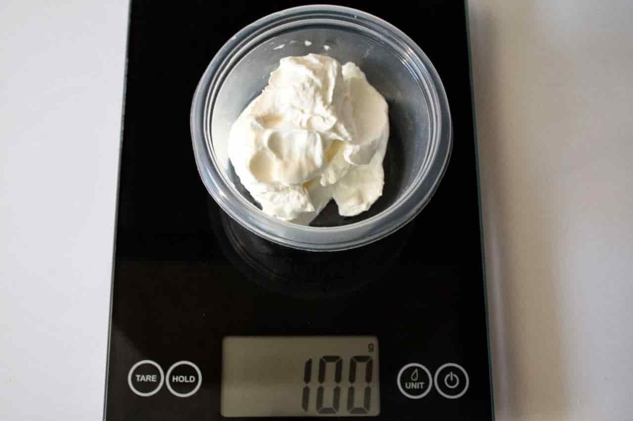 100 грамм сметаны (Вес продуктов)